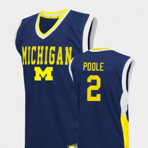 Jordan Poole Michigan Jersey College Basketball Blue Fadeaway #2 Men 206060-657