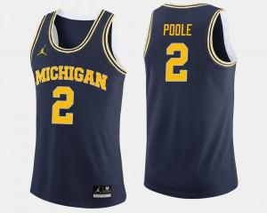 College Basketball Mens #2 Jordan Poole Michigan Jersey Navy 510259-551