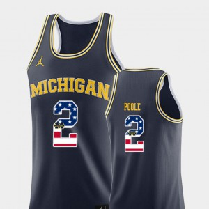 College Basketball Jordan Poole Michigan Jersey Mens #2 USA Flag Navy 270615-436