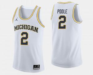 For Men Jordan Poole Michigan Jersey White #2 College Basketball 436602-750