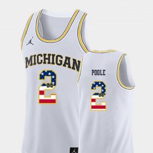 #2 White USA Flag Men's Jordan Poole Michigan Jersey College Basketball 292058-645