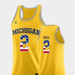 Yellow #2 College Basketball USA Flag For Men Jordan Poole Michigan Jersey 878295-435