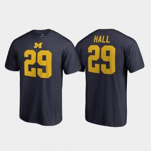 Men's #29 Navy College Legends Name & Number Leon Hall Michigan T-Shirt 543415-114