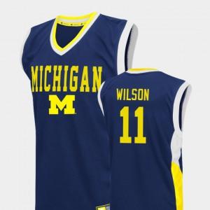 Men's Luke Wilson Michigan Jersey Blue Fadeaway #11 College Basketball 273903-185