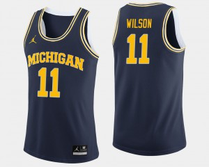 Luke Wilson Michigan Jersey Navy For Men #11 College Basketball 933679-475