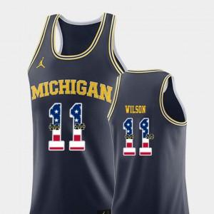 USA Flag Mens College Basketball #11 Navy Luke Wilson Michigan Jersey 299577-668