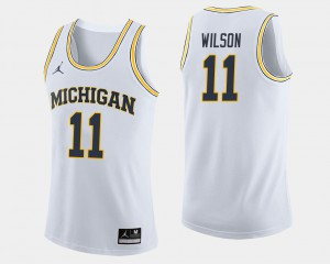 Luke Wilson Michigan Jersey White #11 College Basketball Men 965430-154