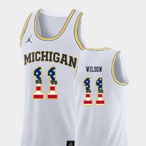 White USA Flag College Basketball For Men's Luke Wilson Michigan Jersey #11 455202-742