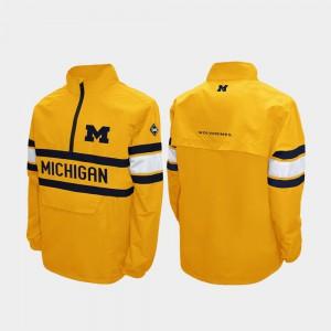 Alpha Windshell Pullover Mens Quarter-Zip Maize Michigan Jacket 828897-876