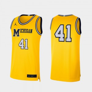 College Basketball For Men's Michigan Jersey Maize #41 Retro Limited 405368-948