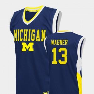 Men's Fadeaway Moritz Wagner Michigan Jersey College Basketball #13 Blue 768334-958