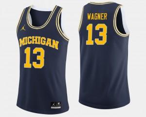 Navy #13 Men College Basketball Moritz Wagner Michigan Jersey 136064-902