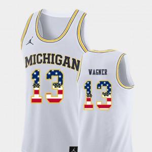 White Men's College Basketball Moritz Wagner Michigan Jersey USA Flag #13 875825-864