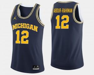 Muhammad-Ali Abdur-Rahkman Michigan Jersey #12 For Men's Navy College Basketball 115336-264