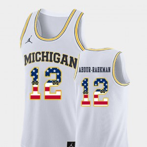 College Basketball White USA Flag Muhammad-Ali Abdur-Rahkman Michigan Jersey #12 Mens 727244-467