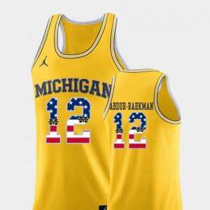USA Flag #12 College Basketball Muhammad-Ali Abdur-Rahkman Michigan Jersey Yellow Mens 564967-955