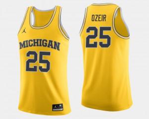 Naji Ozeir Michigan Jersey Maize College Basketball Mens #25 154399-429