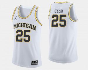 White #25 For Men's Naji Ozeir Michigan Jersey College Basketball 926349-996