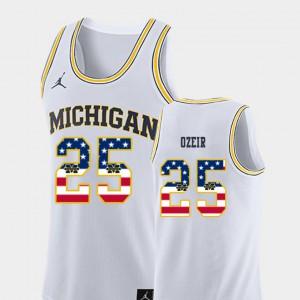 White For Men's Naji Ozeir Michigan Jersey #25 College Basketball USA Flag 235031-216