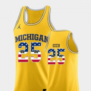 #25 Men's Naji Ozeir Michigan Jersey USA Flag Yellow College Basketball 623368-567