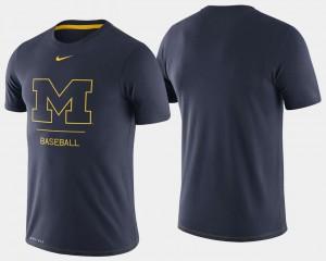 Men's College Baseball Navy Michigan T-Shirt Dugout Performance 661597-484