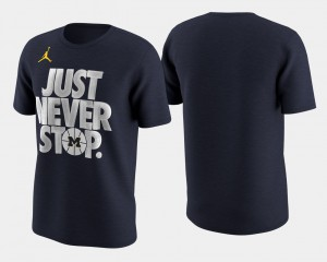 Navy Mens March Madness Selection Sunday Basketball Tournament Just Never Stop Michigan T-Shirt 326538-337