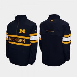 Michigan Jacket Mens Quarter-Zip Alpha Windshell Pullover Navy 284335-206