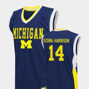 Blue College Basketball Fadeaway Men's Rico Ozuna-Harrison Michigan Jersey #14 242336-908