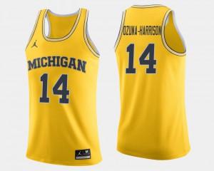 #14 Men's College Basketball Maize Rico Ozuna-Harrison Michigan Jersey 399223-540