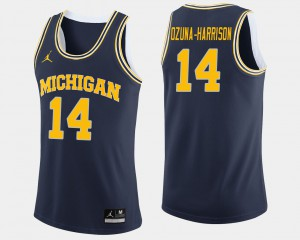 Navy Rico Ozuna-Harrison Michigan Jersey College Basketball Men #14 491882-650