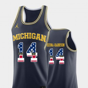 Men's Navy College Basketball Rico Ozuna-Harrison Michigan Jersey #14 USA Flag 417822-800