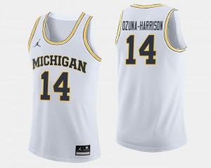 #14 Rico Ozuna-Harrison Michigan Jersey White Mens College Basketball 575234-433