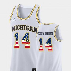 Men's #14 College Basketball Rico Ozuna-Harrison Michigan Jersey White USA Flag 878444-198