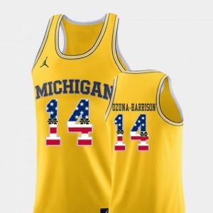 #14 College Basketball USA Flag Men's Rico Ozuna-Harrison Michigan Jersey Yellow 364942-898