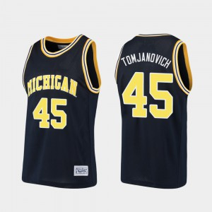 Basketball Alumni Mens Navy #45 Rudy Tomjanovich Michigan Jersey 769877-744