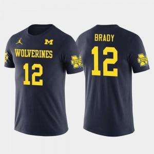 Tom Brady Michigan T-Shirt New England Patriots Football For Men's Future Stars Navy #12 749162-763