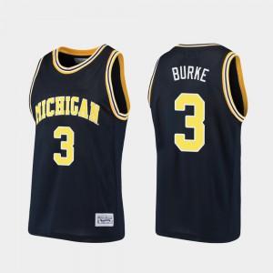 For Men Trey Burke Michigan Jersey Basketball #3 Alumni Navy 372627-190