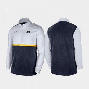 For Men Michigan Jacket Color Block White Navy Quarter-Zip Pullover 678580-953