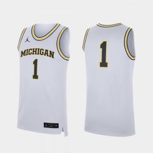 #1 Mens Replica Michigan Jersey College Basketball White 571380-849