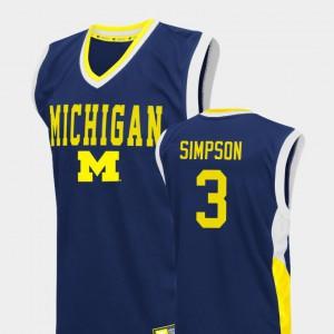 Fadeaway Zavier Simpson Michigan Jersey College Basketball Men's #3 Blue 794595-922