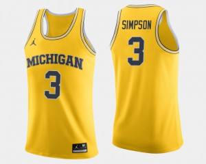 College Basketball Maize For Men Zavier Simpson Michigan Jersey #3 382711-604