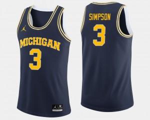 For Men's Navy College Basketball #3 Zavier Simpson Michigan Jersey 954669-531