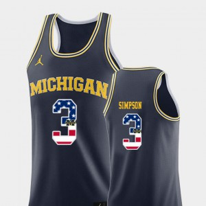 Zavier Simpson Michigan Jersey USA Flag Navy College Basketball Mens #3 264528-375