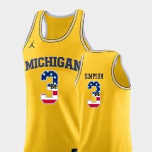 Men #3 Zavier Simpson Michigan Jersey USA Flag College Basketball Yellow 216549-177