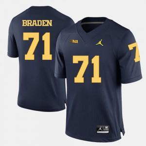 For Men Navy Blue Ben Braden Michigan Jersey #71 College Football 981760-435