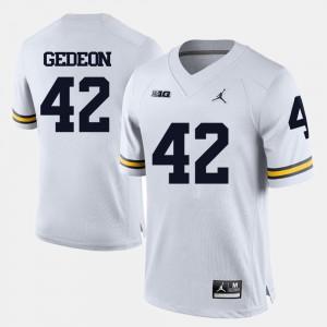 Ben Gedeon Michigan Jersey College Football #42 For Men's White 466892-926
