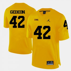 Mens Yellow College Football #42 Ben Gedeon Michigan Jersey 945327-783