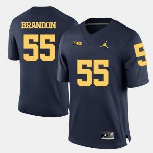 Navy Blue College Football For Men's Brandon Graham Michigan Jersey #55 758177-915