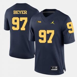 Brennen Beyer Michigan Jersey College Football Navy Blue Mens #97 433200-309
