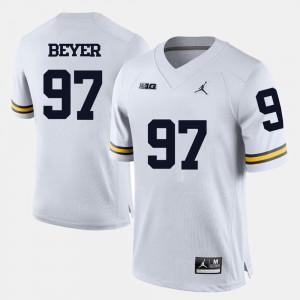 Brennen Beyer Michigan Jersey For Men College Football #97 White 995078-936